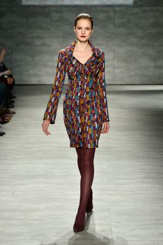 A model walks the runway at the B. Michael America fashion show during Mercedes-Benz Fashion Week Fall 2014 at The Pavilion at Lincoln Cente...
