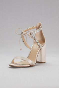 44d13a1863 Crystal-Embellished Ankle-Tie Block Heel Sandals Style JWTHAMAR, Champagne,  7.5
