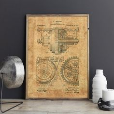 Gears Decor, Metal Gears Print, Metal Gears Poster, Car Parts Print, Gears Wall Decor, Metal Gears Patent, Gears Poster, Art, INSTANT DOWNLOAD #PTP0040  The patent print is a fabulous quick gift, a unique accent in your home and office interior. Printable