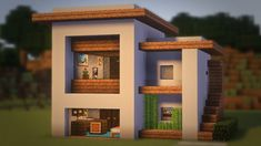 Minecraft: How to Build a Small Modern House Tutorial + Interior ( – Seraphina - Diy Techniques Architecture Minecraft, Modern Minecraft Houses, Minecraft Mansion, Minecraft Houses Survival, Minecraft Interior Design, Minecraft House Tutorials, Minecraft Houses Blueprints, Minecraft Room, Minecraft Plans
