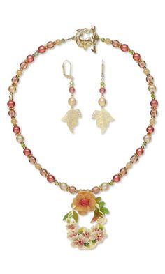 Single-Strand Necklace and Earring Set with Lazer Lace™ Drops and Focal, Czech Glass Beads and Celestial Crystal® Beads