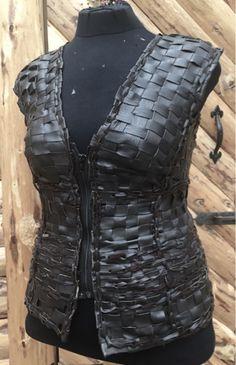 braided leather vest, punottu nahkaliivi