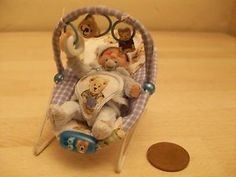 b'ful OOAK baby Ted + bouncy chair 1/12 scale, dolls house