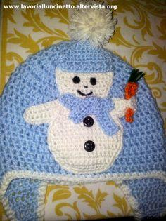 Cappellino di lana con Pupazzo di neve