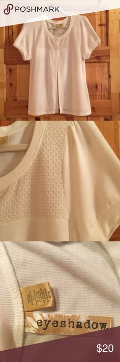 """NWOT Pretty Cardigan Purchased at Macy's NWOT Macy's Pretty Cardigan soft & pretty, an adorable addition to your spring wardrobe! Thin material makes it comfortable. The tag says 2X but it is definitely not that big ... more of an XL. Underarm to underarm measures 20"""". This fit me when I wore a 14-16. See pic 3 for what the material is made of. Never worn and in MINT condition with no rips, stains, tears or pilling.  From my CLEAN NON SMOKING home. Check out my other items as I am cleaning…"""