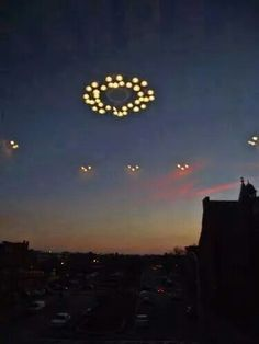 UFO mother ship and smaller craft.