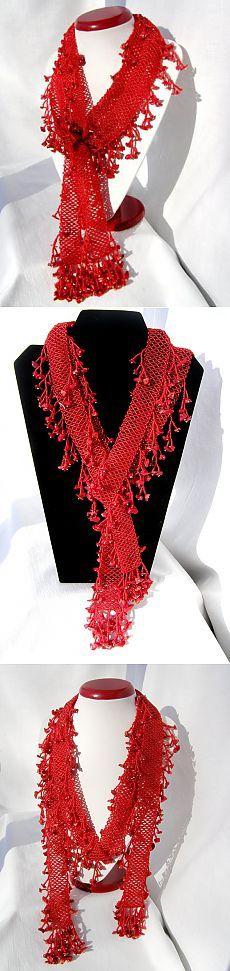 Алый шарф | biser.info - всё о бисере и бисерном творчестве   -   Scarlet scarf | biser.info - all about beads and beaded works