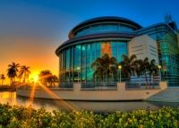 Sunset at the Kravis Center of the Performing Arts West Palm Beach Palm Beach County, West Palm Beach, Miami Architecture, Musicals, Product Launch, Mansions, Sunset, House Styles, City