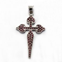 St.James cross in sterling silver and rubies. Made in Galicia with traditional methods. Artcraft of The Way of St.James. Tax free $84.90