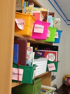 Monthly book bin organization of read alouds with a freebie!