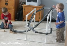 Build a marble run out of foam insulation and pvc pipe - fun!  And sturdy enough for younger kids to play with without it falling down.