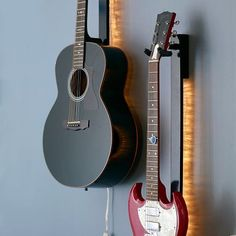 My boyfriend has a bajillion guitars.  This would be a really cool way to display them.