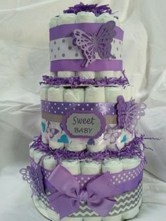 Purple butterfly diaper cake.