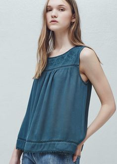 Trim embroidery top - Shirts for Woman | MANGO