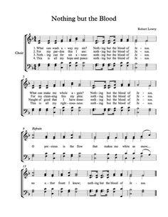 Free Choir Sheet Music Nothing but the Blood