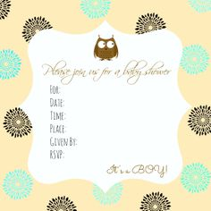 Free baby shower invitation printable. Baby Boy. Owl.
