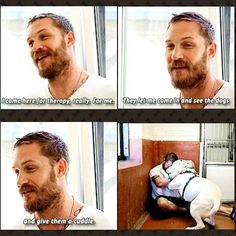 "This just makes me love him so much more ""Paul o'gradys for the love of dogs ITV - Tom hardy visits battersea dogs home"""