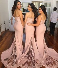 New Style Bridesmaid Dress,Long Bridesmaid Gown,Blush Pink Bridesmaid Gowns,Mermaid Bridesmaid Dresses,Lace Bridesmaid Gowns, Bridesmaid Dress,Vintage Bridesmaid Gowns With Spaghetti Straps