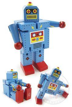 Buy Bolt Blue Robot Large Wood Posable at TinToyArcade.com