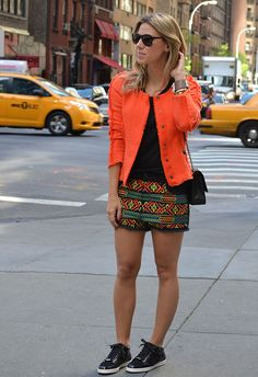 tangerine blazer + etno shorts + cool high tops