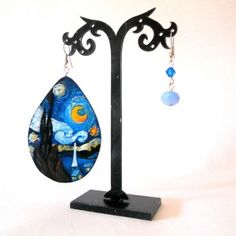orecchini in legno dipinti a mano NOTTE STELLATA Van Gogh