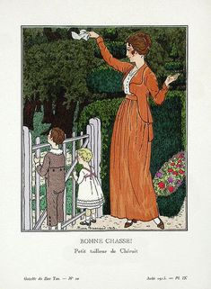 Madeleine Chéruit, mother and children, 1913. Illustration by Pierre Brissaud.
