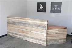 reclaimed wood front desk