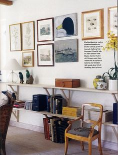 Pure Style Home, art arrangement and open shelving for living room