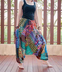 Colorful Unique Harem Aladdin Patchwork Pants by AmazingThaiStore