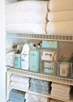 Tips and tricks for organizing a linen closet.