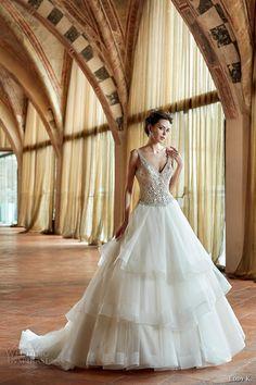 eddy k couture 2017 bridal sleeveless v neck beaded heavily embellished bodice…