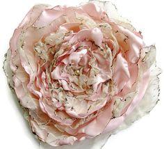 Pastel tea stained Pink Flower, Wedding accessory, Fascinator, Bridal Sash, Decor, Wall Decor, maternity sash, Black Friday, Cyber Monday