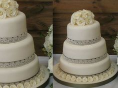 Ivory Roses and Lace Wedding Cake - if only it weren't fondant icing.