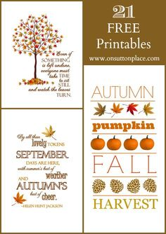 Fall Free printables September Edition. 21 free printables from 7 different bloggers!