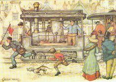 Vintage Art Print by Anton Pieck - The Steam Train Old Fashion Image, Anton Pieck, Dutch Painters, Vintage Art Prints, Dutch Artists, 3d Prints, Cute Illustration, Illustrations, Artist Art