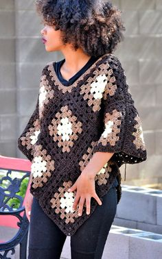 granny square poncho One size fits most, ombre crochet poncho made from soft acrylic yarn with much attention to detail. Its simplicity is what makes it an all season piece for you Point Granny Au Crochet, Poncho Au Crochet, Granny Square Häkelanleitung, Mode Crochet, Crochet Cardigan Pattern, Granny Square Crochet Pattern, Crochet Jacket, Crochet Stitches, Crochet Baby