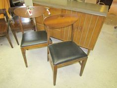 Mid-century furniture including buffet with wooden base and Formica top 2 chairs 2 end tables Mid Century Style, Mid Century Furniture, End Tables, Buffet, Dining Chairs, Base, Top, Home Decor, Mesas