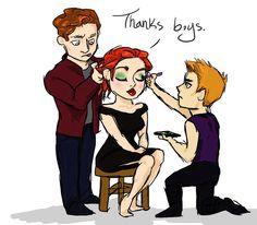 Star-Lord and Hawkeye helping Natasha with her make-up and hair
