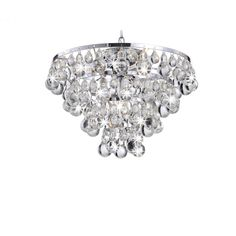 Tranquil Chrome Plating Chandelier with Smooth Crystals (Chrome Plating, Chandelier), Silver