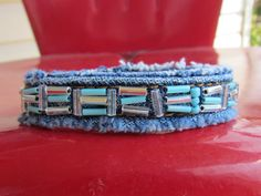 Bracelet  HandBeaded Recycled Denim  by daringmisslassiter on Etsy, $12.00