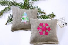 Two Natural Linen Peppermint Pine Sachets . The scent is icy, clean, and cool. In Hot Pink by WSDreams, $14.00 HOLIDAY25 promo code for 25% off through CYBER MONDAY!!