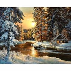 Snow Forest DIY Painting By Numbers Kit Modern Wall Art Landscape Winter Forest Paint By Number Set Painting Adults Kids Gift Forest Picture Forest Painting, Winter Painting, Diy Painting, Painting Snow, Thread Painting, Painting Tools, Artist Painting, Wall Art Pictures, Canvas Pictures
