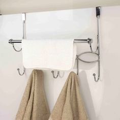"Sweet Home Collection Chrome Over The Door Hook With Towel Bar (17.75x13.5""x5""), Silver"