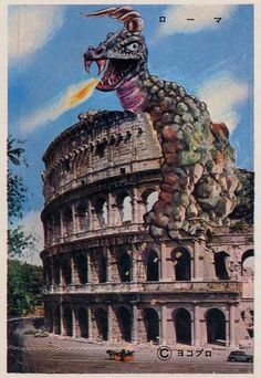 "These vintage Japanese bromide cards — known as Pachimon Postcards — were published by Yokopro in the 1970s. They feature ""pachimon kaiju"", counterfeit monsters that have been painted into scenes of familiar tourist attractions and locations around the world. As imitations of assorted monsters from Japanese TV shows and feature films, pachimon kaiju mimic various Toho creations and offer more than a hint of weird critters from the Ultraman franchise."