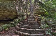 A stone staircase cut into the cliffs at Shawnee National Forest in Southern Illinois, USA.