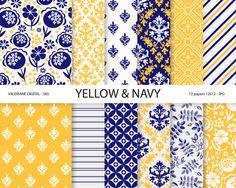 Blue Digital Paper Yellow digital paper by ValerianeDigital, $3.00     -fleur de lis
