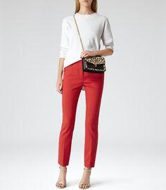 Womens Red Straight Leg Trousers - Reiss Londra