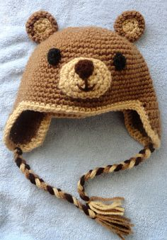 Hand Crochet Baby Bear Hat with ear flap by scotako on Etsy. $16.00 USD, via Etsy.