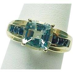 14K Yellow Gold 2.00 Carat Princess Cut Aqua Marine & Blue Sapphire Ring