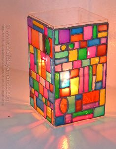 Faux Stained Glass Mosaic Luminary by @amandaformaro CraftsbyAmanda.com